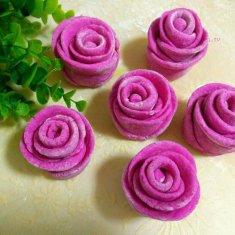 玫瑰花馒头(红心火龙果汁)的做法